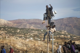 Este grupo de costamarfileños resiste sobre la valla mas de 18 horas para evitar ser devueltos en caliente. Pese a la gravedad de sus heridas todos fueron devueltos al caer la noche